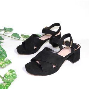 ❣️ ZARA Cross-over Suede Ankle Strap Block heels